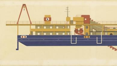 Grafický návrh korečkového bágru KBT 400/200, dizajn: Ján Čalovka, Ján Ondrejovič, Slovenské lodenice Komárno, 1974