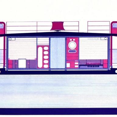 Grafický návrh kajuty, dizajn: Ján Čalovka, Ján Ondrejovič, Slovenské lodenice Komárno, 1974