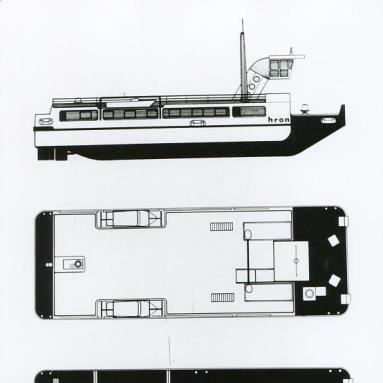 Grafický návrh traťového remorkéru, dizajn: Ján Čalovka, Slovenské lodenice Komárno, 1974